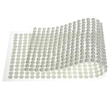Plastic Pearls Flat Bead Self Adhesive Stickers, 6mm, 36-Strips, White