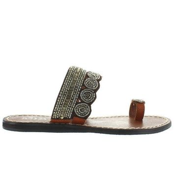 Mia Athens   Clear Multi Beaded/brown Leather Flat Toe Loop Sandal
