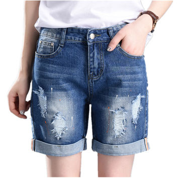 Large Size Denim Shorts Straight Loose Hole Jeans for Women 55-100kg
