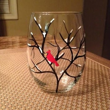 Snowy winter branch cardinal hand-painted wine glass.