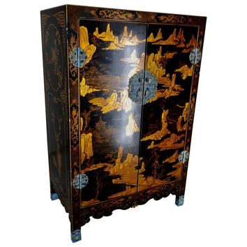 20th Century Black Lacquered Cabinet with Enameled Pulls