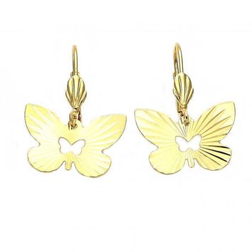 Gold Layered 5.104.011 Dangle Earring, Butterfly Design, Diamond Cutting Finish, Gold Tone