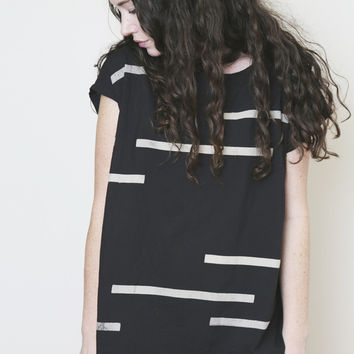 uzi black broken stripes tunic