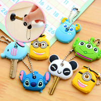 2pcs/lot Kawaii Novelty Items Anime Silicone Key Cover For Women Cute Key Caps Key Rings Key Holder Keychain Key Chain