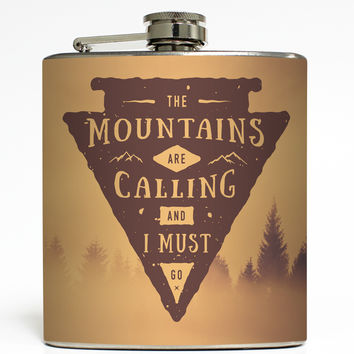 The Mountains Are Calling and I Must Go - Camping Flask