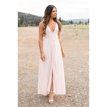 I Just Like To Smile Printed Maxi Dress (Pink)