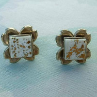 Gold White Art Glass Tiles Clover Screw Earrings Vintage Jewelry