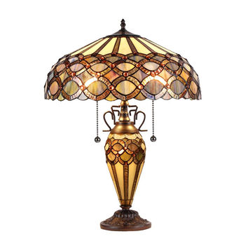 "Prisma, Tiffany-Style 3 Light Double Lit Table Lamp 16"" Shade"