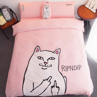 RIPNDIP Lord Nermal Pink & White 4 Piece Bedding Set | 1 Duvet/Quilt Cover * 200 x 230 cm | 1 Flat Sheet * 245 x 250 cm | 2 Pillow Shams * 48 x 74 cm