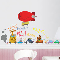 Zootopia Cute Cartoon Animals Cars Balloon Nursery Wall Decal