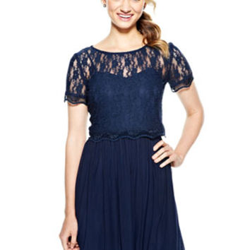 Lace Popover Dress - Navy