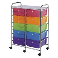 """Blue Hills Studio Double Storage Cart with 15 Drawers, 25.5""""x38""""x15.5"""", Multi-Color"""