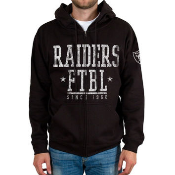 Oakland Raiders Front And Sleeve Full Zip Jacket – Black