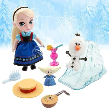 Licensed cool Disney Store Animators' Frozen Ice Queen Elsa & Olaf Mini Doll Figure Playset