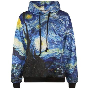 Starry Night mens 3d sweatshirt pullovers print Van Gogh oil painting hooded hoodies lovely tracksuits with pockets S-6XL R281
