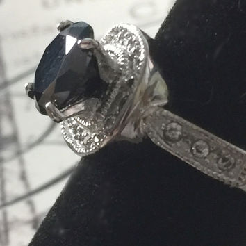 Morgana, A Vintage Perfect 2CT Round Cut Black AAAA CZ Engagement Ring