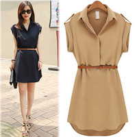 Lapel Collar Mini Dress with Belt [7278865479]