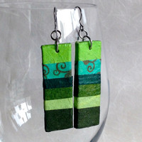 Green Striped Hanji Paper Earrings OOAK Patchwork Lime Green Lemongrass Dark Green Olive Hypoallergenic Dangle Earrings Lightweight Jewelry