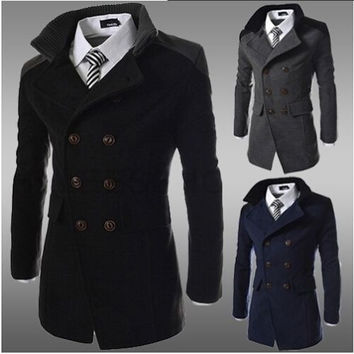 Men's Slim Stylish Trench Coat Winter Long Jacket Double Breasted Overcoat = 1697390340