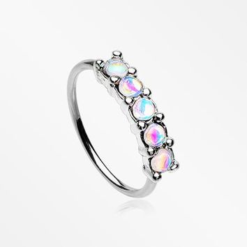 Iridescent Revo Multi Sparkles Princess Prong Bendable Hoop Ring