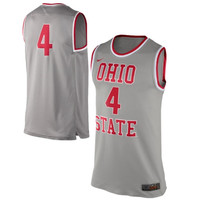 Nike Ohio State Buckeyes #4 Authentic Basketball Performance Jersey - Gray