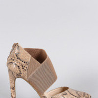 Women's Anne Michelle Python Asymmetrical Pointy Toe Stiletto Pump