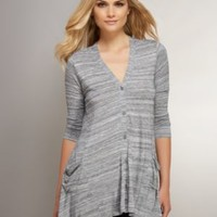 Love NY &C Collection - Button-Front Cardigan with Asymmetrical Hem - New York & Company