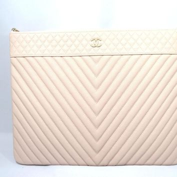 CHANEL Clutch Bag Caviar Leather Pink