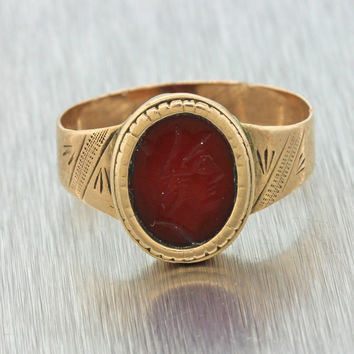 1860s Antique Victorian Estate 14k Yellow Gold Carnelian Cameo Intaglio Ring