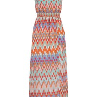 Multicolor Chiffon Smocked Waist Maxi Dress - Multi