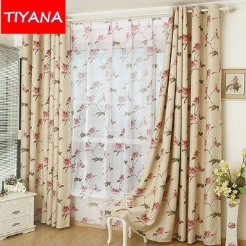 Upscale Eco-friendly Rustic Flower Printed Tulle Curtains Fabric For Living Room Blackout Drapes For Bedroom Balcony AG174&3