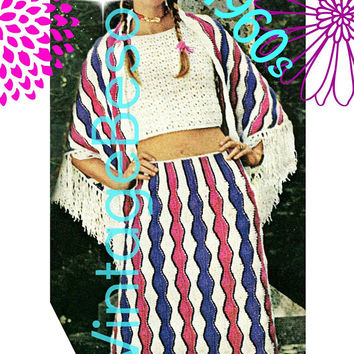 Gypsy Ensemble Crochet Digital Pattern • 3 PATTERNS • Ladies Shawl + Tank Top + Skirt CROCHET Pattern • PdF Pattern • Vintage 1970s