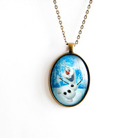 bronze, glass pendant necklace, Olaf, Frozen, vintage style necklace, long chain, jewelry, christmas gift