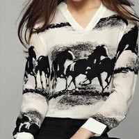 White Horse Print V-Neck Long Sleeve Shirt