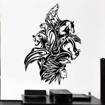 Wall Decal Animals Art Mix Bear Wolf Horse Bird Panther Vinyl Stickers Unique Gift (ed265)