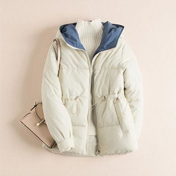 abrigos mujer invierno 2019 New Zipper Parka short Cotton-padded Jacket Hooded Warm Winter Jacket Women Solid Winter Coat womens