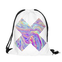 Who Cares New Drawstring Bag 3D Printing Backpack Women Holographic Blue Mochila Feminina Casual School Girl