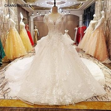 LS6278 princess puffy wedding dress beading crystal ball gown O neck cap sleeves lace wedding gowns for bridal real photos