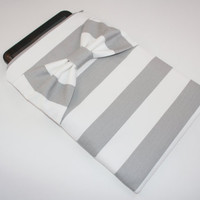 Tablet Case - Microsoft, Acer, Samsung, Asus, Motorola, HP - Gray and White Stripe with Bow - Padded