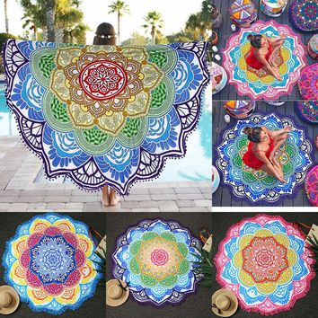 Mandala Beach Towel Indian Large Lotus Printing Yoga Mat Round Tassel Tapestry Totem Blanket Hippy Boho Tablecloth 150cm/59''