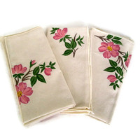 Vintage Napkins Franciscan Desert Rose Pattern, Matching Plates and Glasses, Cottage Chic, Set of 3
