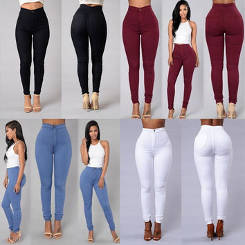 Pencil Stretch Casual  Denim Skinny Jeans Pants