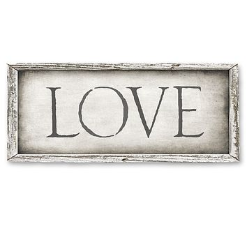 Rustic Wood Framed Shelf Art - LOVE - 15-in
