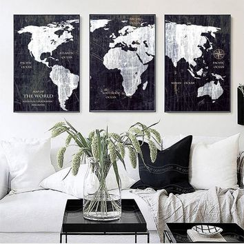 SURE LIFE Vintage Black And White World Map Posters Prints Canvas Paintings Home Wall Art Pictures for Living Room Office Decor