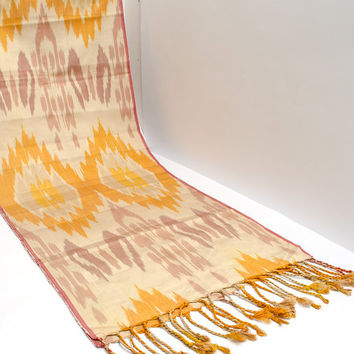 ikat women scarf, table runner, handmade scarf, hand dyed, cream orange brown ikat scarf, shawl, écharpe, Schal, bufanda, accessories