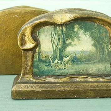 Pie Crust Vintage Art and Crafts Bookends by AtHomeInNapa on Etsy