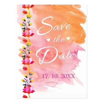 Simple Watercolor Flower Save the Date Postcard