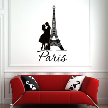 Eiffel Tower Decal Paris Wall Decals Vinyl Lettering- France Paris Eiffel Tower Wall Art Girls Room Bedroom Living Room Dorm Home Decor 0040