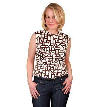 Vintage Blouse  Brown & White Abstract Sleeveless 1950'S 38 Bust
