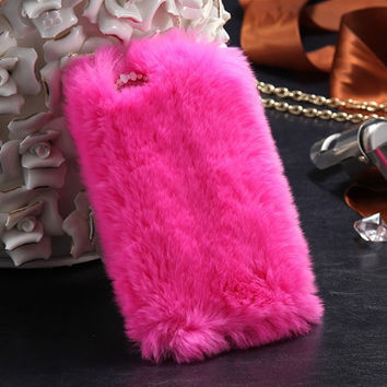Faux Rabbit Fur Luxe Case For iPhone 6 4.7inch For iPhone 6S Mobile Phone